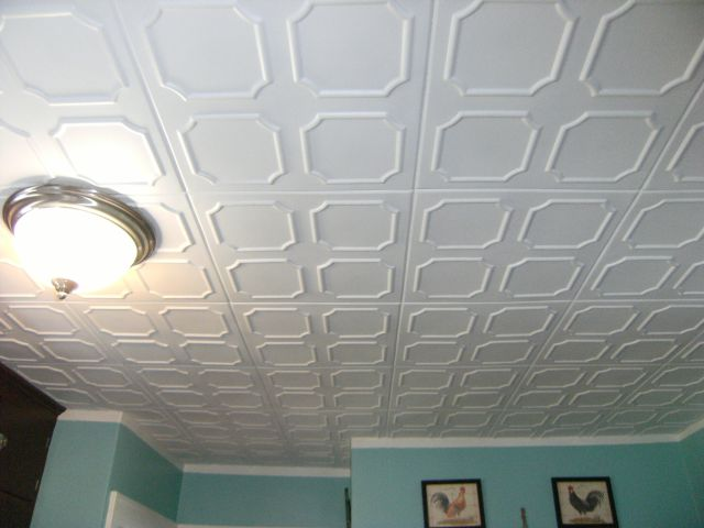 Kitchen After Installing Decorative Ceiling Tiles
