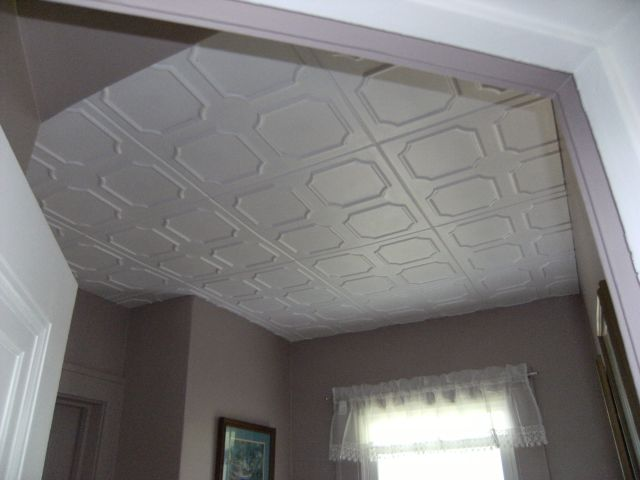 Bathroom Ceiling After Installing Decorative Ceiling Tiles
