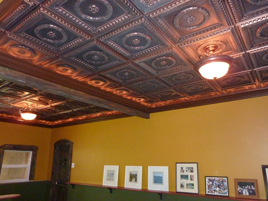 Man Cave Antique Looking Ceiling With Crown Molding