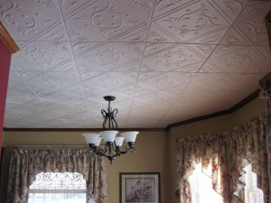 a ceiling renewed with DIY ceiling tiles