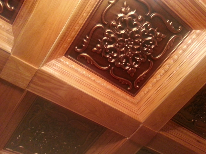 Finished Coffered Ceiling with Faux Copper Inserts