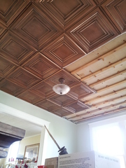 mikeu0027s ceiling after installing dct05 decorative ceiling tiles in antique copper