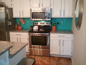 Jessica's Kitchen Transformed With Decorative Ceiling Tile Backsplash
